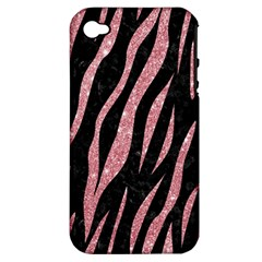 Skin3 Black Marble & Pink Glitter (r) Apple Iphone 4/4s Hardshell Case (pc+silicone) by trendistuff