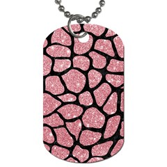 Skin1 Black Marble & Pink Glitter (r) Dog Tag (one Side) by trendistuff