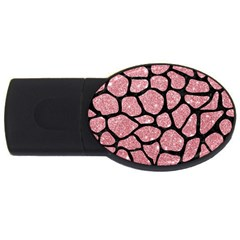 Skin1 Black Marble & Pink Glitter (r) Usb Flash Drive Oval (4 Gb) by trendistuff