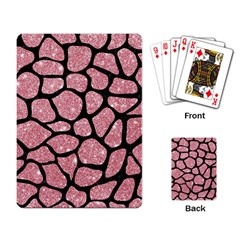 Skin1 Black Marble & Pink Glitter (r) Playing Card by trendistuff
