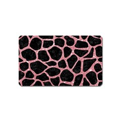 Skin1 Black Marble & Pink Glitter Magnet (name Card) by trendistuff