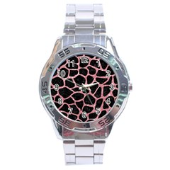 Skin1 Black Marble & Pink Glitter Stainless Steel Analogue Watch by trendistuff