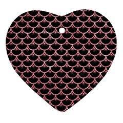 Scales3 Black Marble & Pink Glitter (r) Ornament (heart) by trendistuff