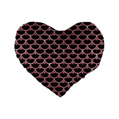 Scales3 Black Marble & Pink Glitter (r) Standard 16  Premium Heart Shape Cushions by trendistuff