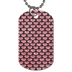 Scales3 Black Marble & Pink Glitter Dog Tag (one Side) by trendistuff