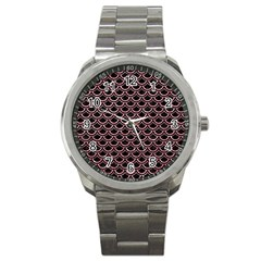 Scales2 Black Marble & Pink Glitter (r) Sport Metal Watch by trendistuff