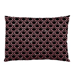 Scales2 Black Marble & Pink Glitter (r) Pillow Case by trendistuff