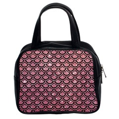 Scales2 Black Marble & Pink Glitter Classic Handbags (2 Sides) by trendistuff