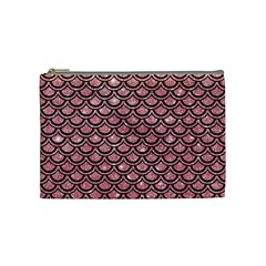 Scales2 Black Marble & Pink Glitter Cosmetic Bag (medium)  by trendistuff