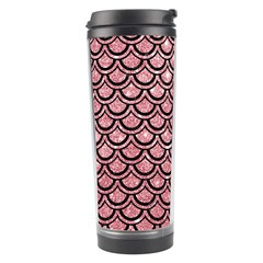 Scales2 Black Marble & Pink Glitter Travel Tumbler by trendistuff