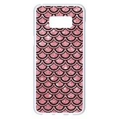 Scales2 Black Marble & Pink Glitter Samsung Galaxy S8 Plus White Seamless Case by trendistuff