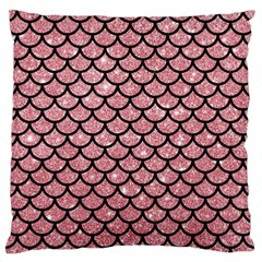 Scales1 Black Marble & Pink Glitter Large Flano Cushion Case (two Sides) by trendistuff