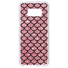 Scales1 Black Marble & Pink Glitter Samsung Galaxy S8 White Seamless Case by trendistuff