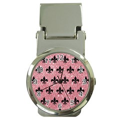 Royal1 Black Marble & Pink Glitter (r) Money Clip Watches by trendistuff
