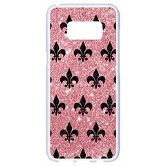 Royal1 Black Marble & Pink Glitter (r) Samsung Galaxy S8 White Seamless Case by trendistuff