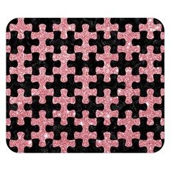 Puzzle1 Black Marble & Pink Glitter Double Sided Flano Blanket (small)  by trendistuff