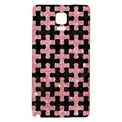 Puzzle1 Black Marble & Pink Glitter Galaxy Note 4 Back Case by trendistuff