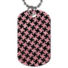 Houndstooth2 Black Marble & Pink Glitter Dog Tag (two Sides) by trendistuff