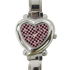 Houndstooth2 Black Marble & Pink Glitter Heart Italian Charm Watch by trendistuff
