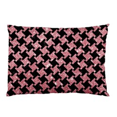 Houndstooth2 Black Marble & Pink Glitter Pillow Case by trendistuff