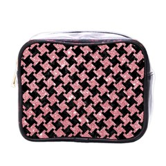 Houndstooth2 Black Marble & Pink Glitter Mini Toiletries Bags by trendistuff