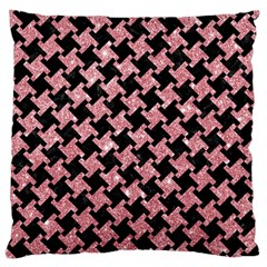 Houndstooth2 Black Marble & Pink Glitter Large Cushion Case (one Side) by trendistuff