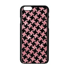 Houndstooth2 Black Marble & Pink Glitter Apple Iphone 6/6s Black Enamel Case by trendistuff