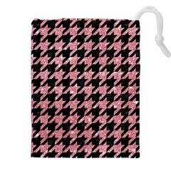Houndstooth1 Black Marble & Pink Glitter Drawstring Pouches (xxl) by trendistuff