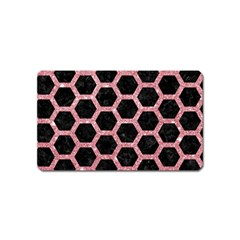 Hexagon2 Black Marble & Pink Glitter (r) Magnet (name Card) by trendistuff