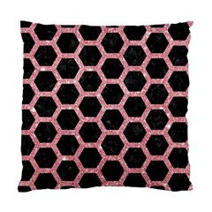 Hexagon2 Black Marble & Pink Glitter (r) Standard Cushion Case (two Sides) by trendistuff