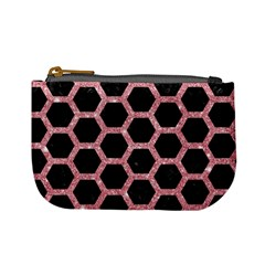 Hexagon2 Black Marble & Pink Glitter (r) Mini Coin Purses by trendistuff