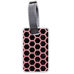 Hexagon2 Black Marble & Pink Glitter (r) Luggage Tags (one Side)
