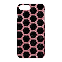 Hexagon2 Black Marble & Pink Glitter (r) Apple Iphone 7 Plus Hardshell Case