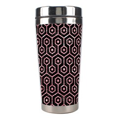 Hexagon1 Black Marble & Pink Glitter (r) Stainless Steel Travel Tumblers by trendistuff