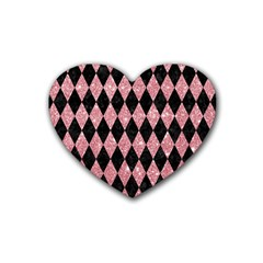 Diamond1 Black Marble & Pink Glitter Heart Coaster (4 Pack)  by trendistuff