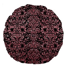 Damask2 Black Marble & Pink Glitter (r) Large 18  Premium Round Cushions by trendistuff