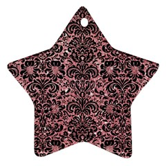 Damask2 Black Marble & Pink Glitter Ornament (star) by trendistuff