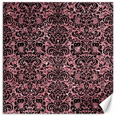 Damask2 Black Marble & Pink Glitter Canvas 12  X 12   by trendistuff