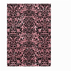 Damask2 Black Marble & Pink Glitter Large Garden Flag (two Sides) by trendistuff