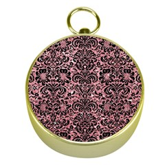 Damask2 Black Marble & Pink Glitter Gold Compasses by trendistuff