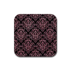 Damask1 Black Marble & Pink Glitter (r) Rubber Square Coaster (4 Pack)  by trendistuff