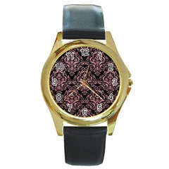 Damask1 Black Marble & Pink Glitter (r) Round Gold Metal Watch by trendistuff