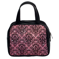 Damask1 Black Marble & Pink Glitter Classic Handbags (2 Sides) by trendistuff