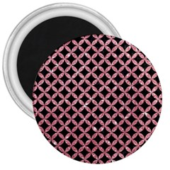 Circles3 Black Marble & Pink Glitter (r) 3  Magnets by trendistuff