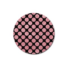 Circles2 Black Marble & Pink Glitter (r) Magnet 3  (round) by trendistuff