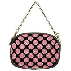 Circles2 Black Marble & Pink Glitter (r) Chain Purses (two Sides)  by trendistuff