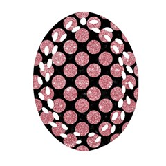 Circles2 Black Marble & Pink Glitter (r) Oval Filigree Ornament (two Sides) by trendistuff
