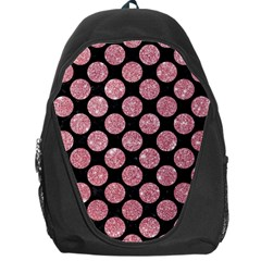 Circles2 Black Marble & Pink Glitter (r) Backpack Bag by trendistuff
