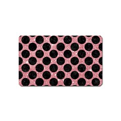 Circles2 Black Marble & Pink Glitter Magnet (name Card) by trendistuff