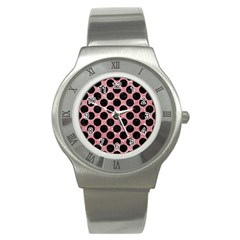 Circles2 Black Marble & Pink Glitter Stainless Steel Watch by trendistuff